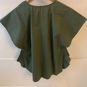 Zara Tops - ZARA Basic olive green boxy top frilled sleeve S